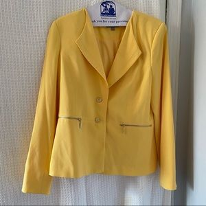 Yellow button front blazer from Laura